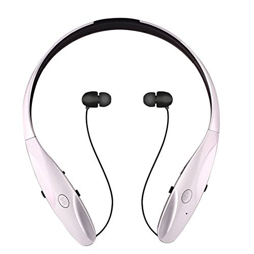 Bluetooth Headphone ChYu Wireless Bluetooth Headset with Mic Stereo Noise Cancelling Hand-free Sports Headset Retractable Earphone Earbuds for IOS Android and Other Bluetooth Devices (Silver)