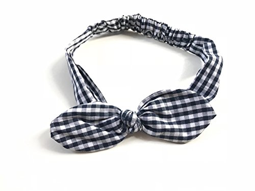 Price comparison product image SWEET SERENITY (Black and White) Gingham Plaid Checkered Women Elastic Headband Head Wrap Bow Rounded Rabbit Ears Bandana