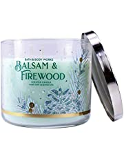 White Barn Bath and Body Works Balsam and Firewood 3 Wick Scented Candle 14.5 Ounce