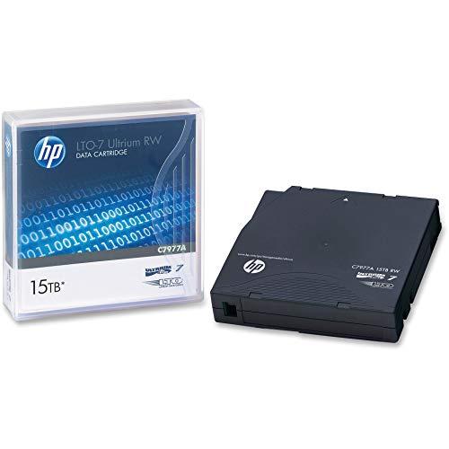 HP C7977A 1/2-Inch Ultrium LTO-7 Cartridge, 2,200 ft, 15 TB Native/6TB Compressed Capacity