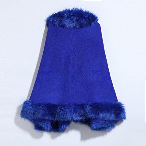 Cape Pardessus Manteaux Lache Fourrure Poncho Femmes Capes Bleu YouPue Royal en Manteau Chale Cardigan Tricot Faux aAnqxBw