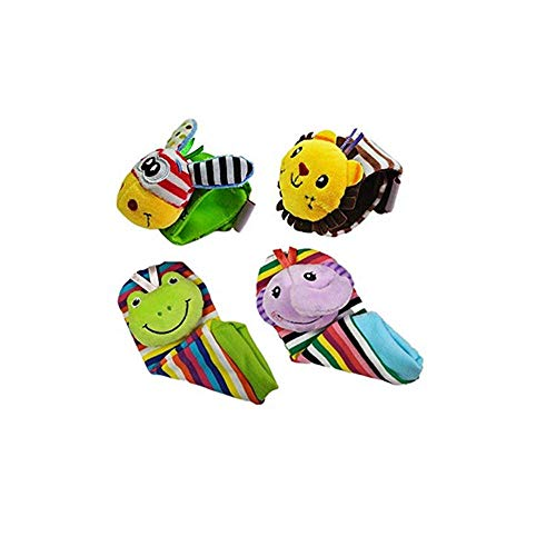 (leoyoubei Baby Socks Toys Wrist Rattles and Foot Finder 4 Kinds of Animals Multicolor 4pack)