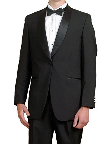 Broadway Tuxmakers Mens Black Tuxedo Jacket, Satin Shawl Lapel, Mens Dinner Jacket by (44R) by Broadway Tuxmakers