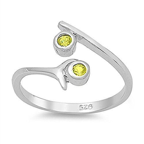 Bypass Wrap Adjustable Toe Ring Round Simulated Peridot 925 Sterling Silver