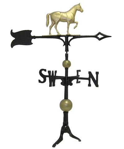 Whitehall Products Traditional Directions - Whitehall Products Full-Bodied Horse Weathervane, 30-Inch, Gold/Bronze