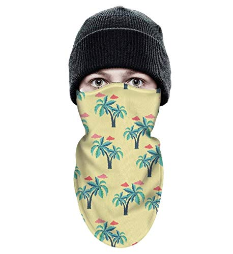 - Floowyerion Unisex Palm Trees and Clouds Wind-Resistant Face Mask Tough Headwear Ski Mask
