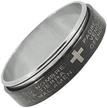 Spinning Center Stainless Steel Ring with Lords Prayer and Cross Design, Different Sizes