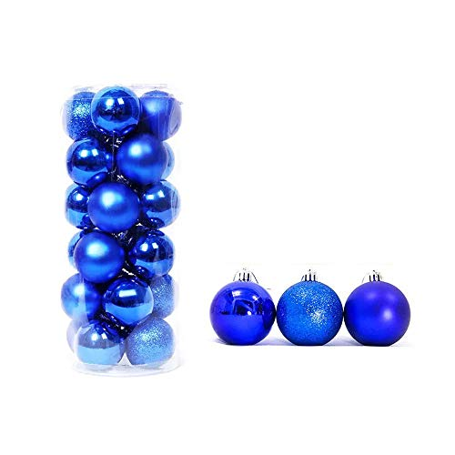 feng biao Christmas Ball Pendant, Decorative Shatterproof Christmas Tree Pendants Hanging 40mm Christmas Baubles Balls Ornaments Set Pack of 24 pcs (Royal Blue)