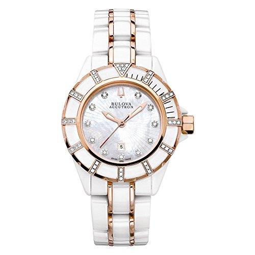 Bulova Accutron 65R140 Ladies White Rose Gold Mirador Watch