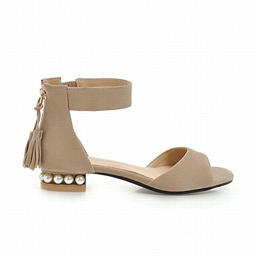 Mee Shoes Women's Dance Zip Faux Pearl Sandals Beige UrH2FK