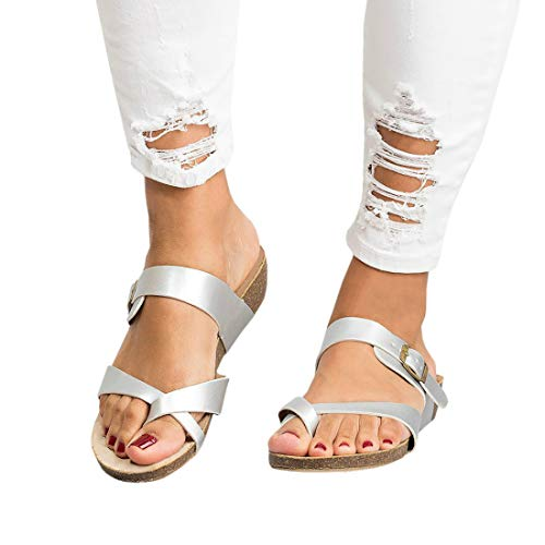 - Women's Cross Toe Double Buckle Strap Cork Flip Flops Leather Flat Gladiator Sandals