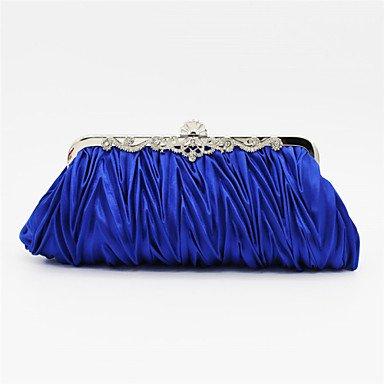 Satin femmes/événement Party / sac de soirée de mariage Beige / rose / violet / bleu / or / argent / noir Blue