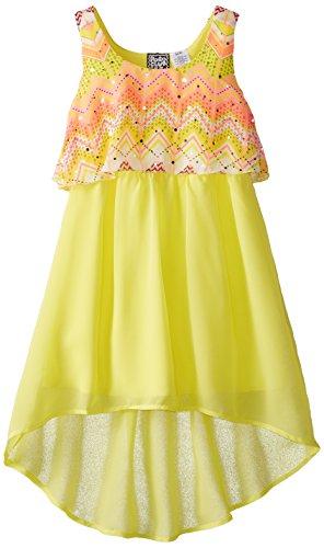 Pogo Club Little Girls Printed Chiffon Popover Dress  Sun Yellow  Medium