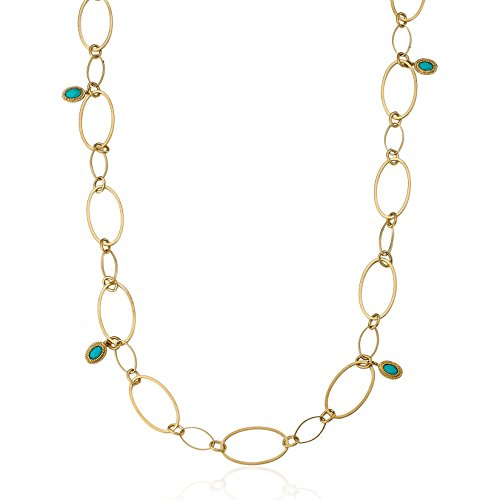 (Links 14k Gold-Plated Open Links With Turquoise Dangles 36