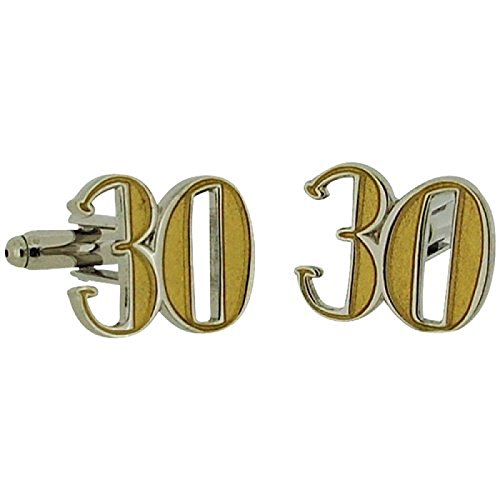 Wendy Jones Blackett Two Tone Diecast ''Happy 30th Birthday'' Cufflinks in - Tone Cufflinks Diamond Two