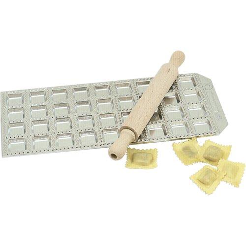 Risoli Aluminum Square Ravioli Maker with Rolling Pin, 36 Cup