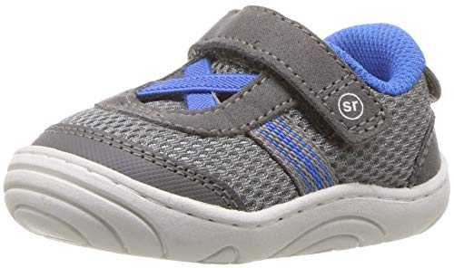 Stride Rite Boys' SR-Jackson Sneaker, Grey/Blue, 4 M US Toddler