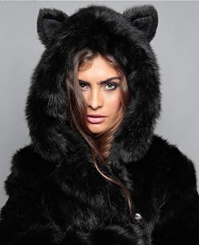 Femme Huaishu Automne Moelleux Black Manches Chaude Longues Manteau XL Hiver Noir Veste ZdqUdrn