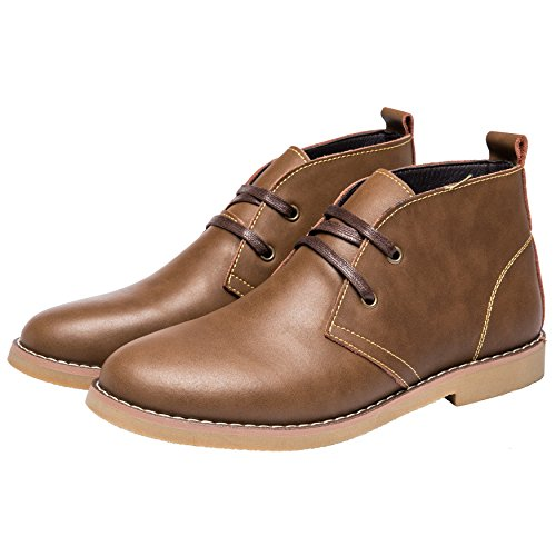 Shoes Slip Chukka Desert Boots Formal on Mens Boots Ankle Leather Brown by Dress Santimon x1Iwqv