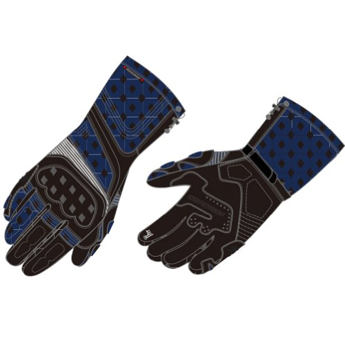 Fieldsheer Wind Tour Men's Leather Sports Bike Motorcycle Gloves - Black/Blue / 4X-Large - Fieldsheer Street Bike
