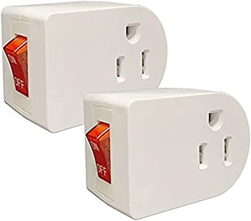 2 Pack  UL Single Port Power Wall Tap Adapter with Red Indicator On//Off Switch
