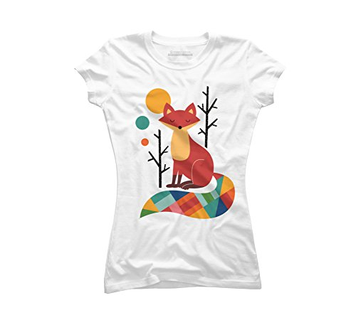 Design By Humans Rainbow Fox Juniors' X-Large White Graphic T Shirt