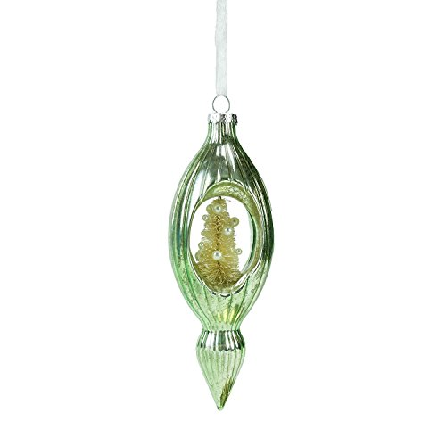 "(Roman 7"" Mint Green Mercury Glass Finial Christmas Ornament with Tree)"