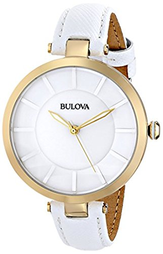 Bulova Ladies White Strap Gold Accented Watch 97L140 (White Dial Polished)