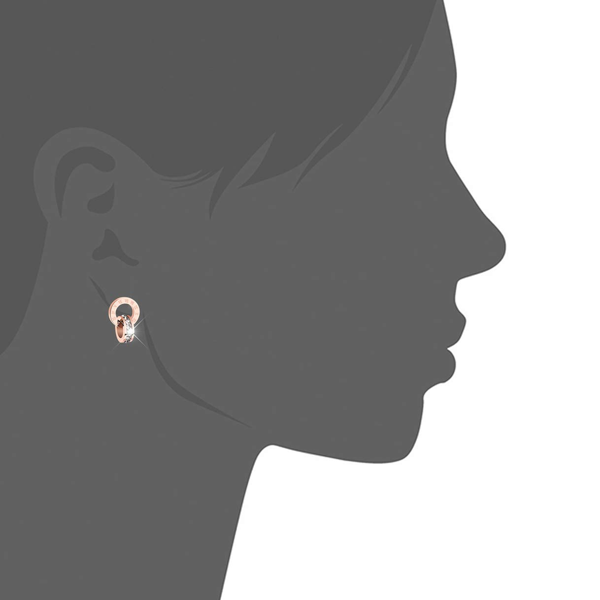 CHARMFAME Rose Gold Plated Stainless Steel Double Circle CZ Drop Earrings Roman Numeral Dangle Earrings for Women /& Girls