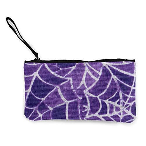 Coin Purse Halloween Spider Purple Web Cute Travel Makeup Pencil Pen Case With Handle Cash Canvas Zipper Pouch 4.7