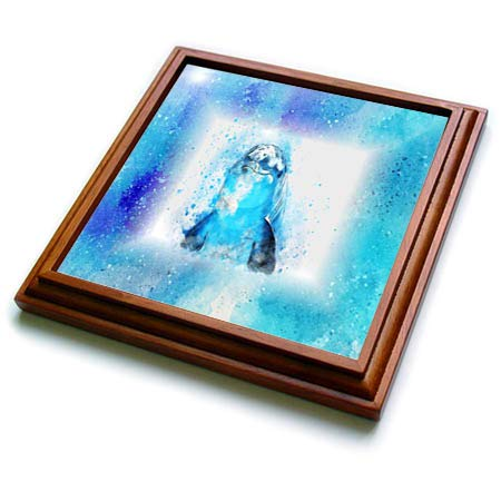 3dRose Lens Art by Florene - Watercolor Art - Image of Sweet Dolphin Face And Flipper Painting - 8x8 Trivet with 6x6 ceramic tile (trv_290973_1)