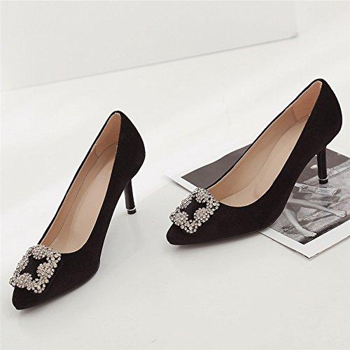 Hauts Noir Mode des de Femmes CXY Printemps Chaussures Talons Talons Hauts Dames à de Pointus 39 Diamants Peu Profonde Pointus Bouche Banquet tcwqBRWRgZ
