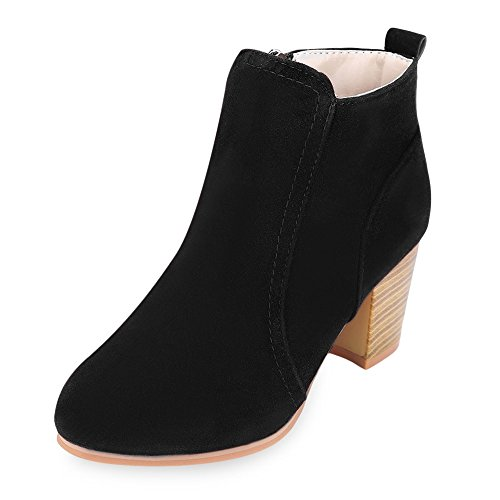 BeautyGal Women Fashionable Zip Ankle Boots High Heel Casual Shoes(Black 39)
