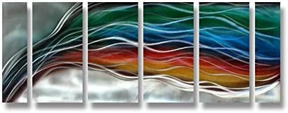 Pure Art Colorful Rainbow Wave – Large Handcrafted Silver Abstract Metal Wall Art Decor – Set of 6 Panels, Modern Hanging Sculpture, Artwork for Your Home, Business, Office – 65 x 24