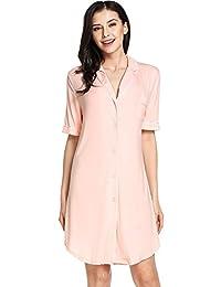Sweetnight Women Short Sleeve Nightgown Button Front Boyfriend Sleep Shirt S-XXL