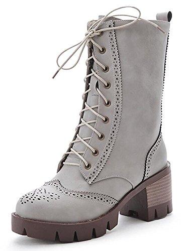 Chfso Womens Trendy Solide Lace Up Mid Stevige Hak Platform Mid Manchet Winter Laarzen Grijs