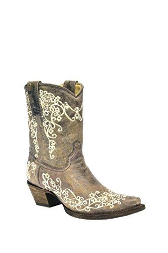 Lyhyt Cowboy Kraatteri Boot Varvas Naisten Leikata Corral Kirjonta Ruskea q1twUZpWv