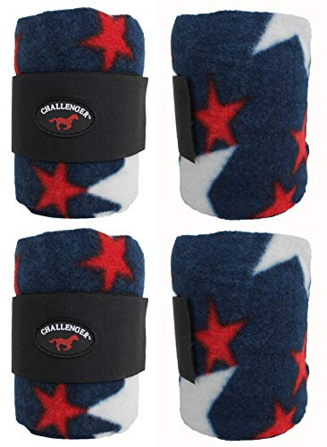 Challenger Horsewear Horse Tack Grooming Leg Set of 4 Polo Wrap Star 95R22RD