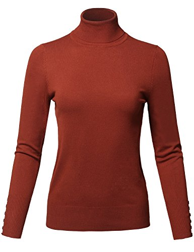Awesome21 Casual Solid Long Sleeve Button Detail Turtleneck Sweater Rust Size -