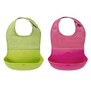 OXO Tot Waterproof Silicone Roll Up Bib with Comfort-Fit Fabric Neck, 2 Pack, Pink/Green