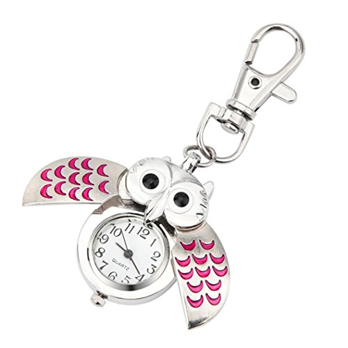 FAPIZI Clearance✿Wristwatch Gift Key Ring Watch Fashion Gorgeous Owl Watch Clip Pocket Keychain (Pink) from FAPIZI