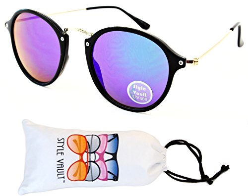 V155-vp Style Vault Round Panto Cateye Sunglasses (B1790F Black/Gold-Emerald Mirror, - Sunglasses Pantos