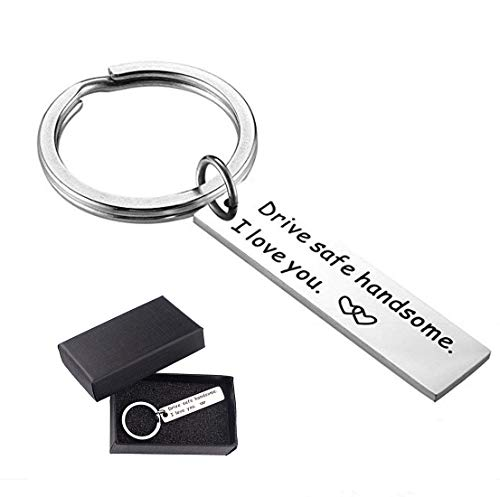 Drive Safe Keychain Handsome I Love You Keychain for Boyfriend Dad Gift Couple Keychain Fathers Day Gifts Keychain Trucker Husband Gift Key Rings Valentines Day Stocking Stuffer (I Love You Keychain)