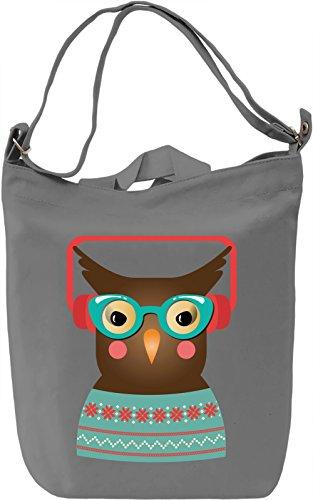 Hipster owl Borsa Giornaliera Canvas Canvas Day Bag| 100% Premium Cotton Canvas| DTG Printing|