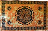 Raven Blackwood Imports Bedspread Tapestry Seven Chakra Symbols Lotus Om Orange Black Large 72'' x 108''