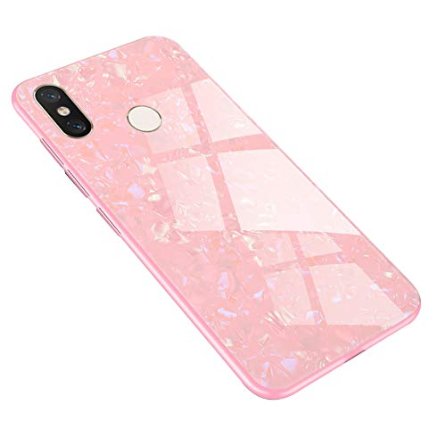 UPSTONE Compatible fit Xiaomi Redmi Note 7 Case + Tempered Glass Back Marble Pattern TPU Rubber Gel Slim Flexible Mirror Case Full Body Protective Thin Case Anti-Scratch Anti-Shock(Pink )