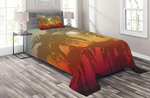 Lunarable Hawaiian Coverlet Set Twin Size, Los Angeles Miami Tropical Places Icon Palm Trees in Abstract Style Art Print, 2 Piece Decorative Quilted Bedspread Set with 1 Pillow Sham, Orange Grey