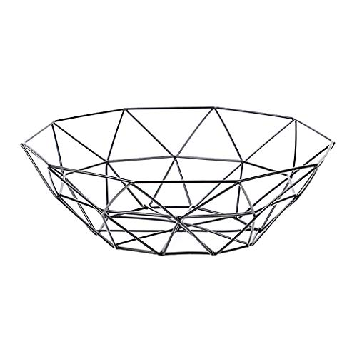 Celiy Geometric Fruit Vegetable Wire Basket Metal Bowl Kitchen Storage Desktop Display (Black)