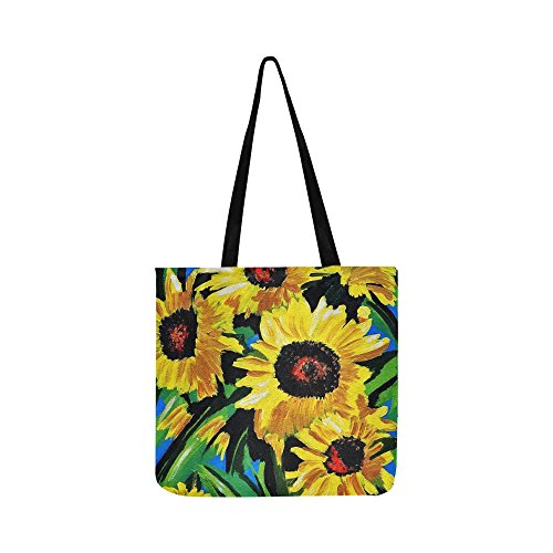 Painted Sunflowers Acrylic Paint Canvas Bold Visual Canvas Tote Handbag Shoulder Bag Crossbody Bags Purses For Men And Women Shopping Tote ()