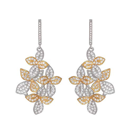 925 Sterling Silver Two Tones Flowers Dangle Earrings Micro Pave CZ